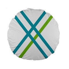 Symbol X Blue Green Sign Standard 15  Premium Flano Round Cushions by Mariart