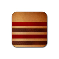 Vintage Striped Polka Dot Red Brown Rubber Square Coaster (4 Pack)  by Mariart