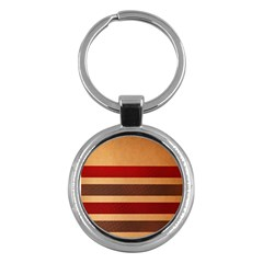 Vintage Striped Polka Dot Red Brown Key Chains (round)  by Mariart