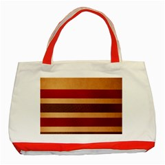 Vintage Striped Polka Dot Red Brown Classic Tote Bag (red) by Mariart