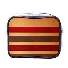 Vintage Striped Polka Dot Red Brown Mini Toiletries Bags by Mariart
