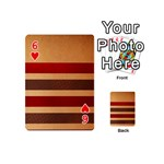 Vintage Striped Polka Dot Red Brown Playing Cards 54 (Mini)  Front - Heart6