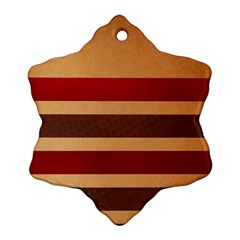 Vintage Striped Polka Dot Red Brown Ornament (snowflake) by Mariart