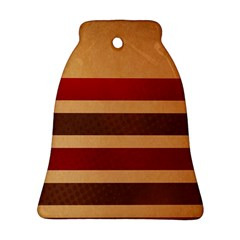 Vintage Striped Polka Dot Red Brown Bell Ornament (two Sides) by Mariart