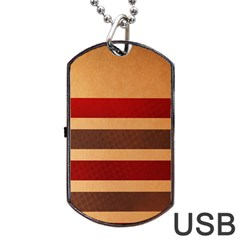 Vintage Striped Polka Dot Red Brown Dog Tag Usb Flash (one Side) by Mariart