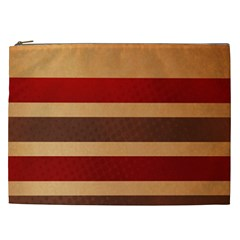 Vintage Striped Polka Dot Red Brown Cosmetic Bag (xxl)  by Mariart