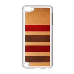 Vintage Striped Polka Dot Red Brown Apple Ipod Touch 5 Case (white) by Mariart