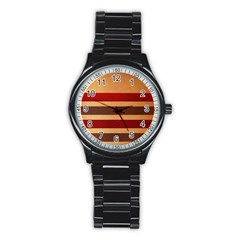 Vintage Striped Polka Dot Red Brown Stainless Steel Round Watch by Mariart