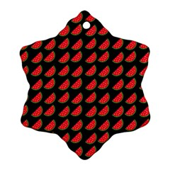 Watermelon Slice Red Black Fruite Ornament (snowflake) by Mariart