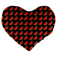 Watermelon Slice Red Black Fruite Large 19  Premium Flano Heart Shape Cushions by Mariart