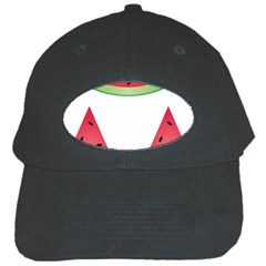 Watermelon Slice Red Green Fruite Black Cap by Mariart
