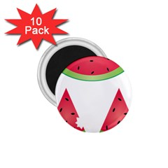Watermelon Slice Red Green Fruite 1 75  Magnets (10 Pack)  by Mariart