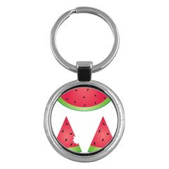 Watermelon Slice Red Green Fruite Key Chains (round)  by Mariart