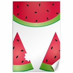 Watermelon Slice Red Green Fruite Canvas 24  X 36  by Mariart