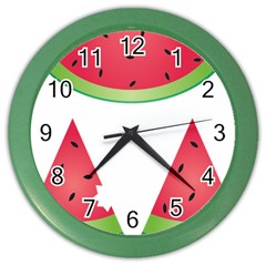 Watermelon Slice Red Green Fruite Color Wall Clocks by Mariart