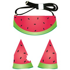 Watermelon Slice Red Green Fruite Shoulder Sling Bags by Mariart
