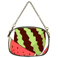 Watermelon Slice Red Green Fruite Circle Chain Purses (two Sides)  by Mariart