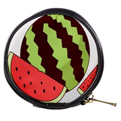 Watermelon Slice Red Green Fruite Circle Mini Makeup Bags by Mariart