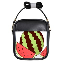 Watermelon Slice Red Green Fruite Circle Girls Sling Bags by Mariart