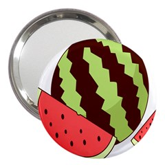 Watermelon Slice Red Green Fruite Circle 3  Handbag Mirrors by Mariart