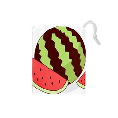Watermelon Slice Red Green Fruite Circle Drawstring Pouches (small)  by Mariart