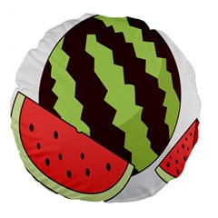 Watermelon Slice Red Green Fruite Circle Large 18  Premium Flano Round Cushions by Mariart