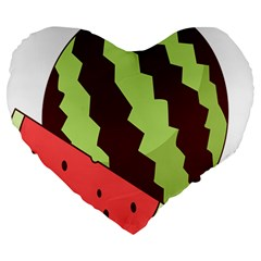 Watermelon Slice Red Green Fruite Circle Large 19  Premium Flano Heart Shape Cushions by Mariart