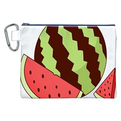 Watermelon Slice Red Green Fruite Circle Canvas Cosmetic Bag (xxl) by Mariart