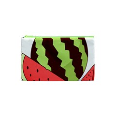 Watermelon Slice Red Green Fruite Circle Cosmetic Bag (xs) by Mariart