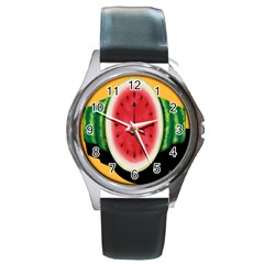 Watermelon Slice Red Orange Green Black Fruite Time Round Metal Watch by Mariart