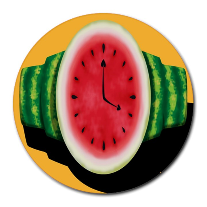 Watermelon Slice Red Orange Green Black Fruite Time Round Mousepads