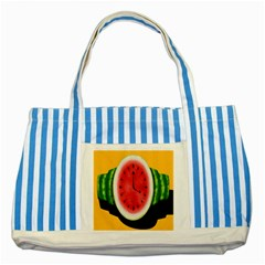 Watermelon Slice Red Orange Green Black Fruite Time Striped Blue Tote Bag by Mariart