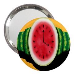 Watermelon Slice Red Orange Green Black Fruite Time 3  Handbag Mirrors