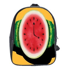 Watermelon Slice Red Orange Green Black Fruite Time School Bags (xl)  by Mariart