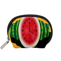 Watermelon Slice Red Orange Green Black Fruite Time Accessory Pouches (small)  by Mariart