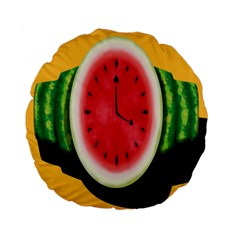 Watermelon Slice Red Orange Green Black Fruite Time Standard 15  Premium Flano Round Cushions by Mariart
