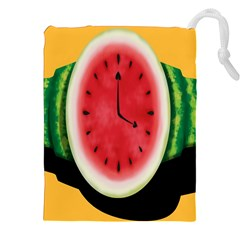 Watermelon Slice Red Orange Green Black Fruite Time Drawstring Pouches (xxl) by Mariart