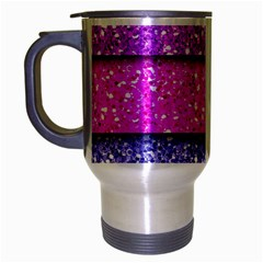 Violet Girly Glitter Pink Blue Travel Mug (silver Gray) by Mariart
