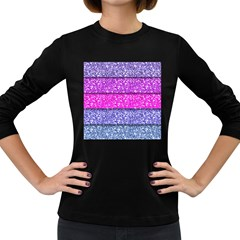 Violet Girly Glitter Pink Blue Women s Long Sleeve Dark T Shirts by Mariart