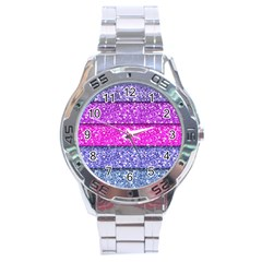 Violet Girly Glitter Pink Blue Stainless Steel Analogue Watch by Mariart