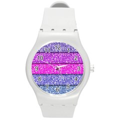 Violet Girly Glitter Pink Blue Round Plastic Sport Watch (m) by Mariart