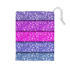 Violet Girly Glitter Pink Blue Drawstring Pouches (large)  by Mariart