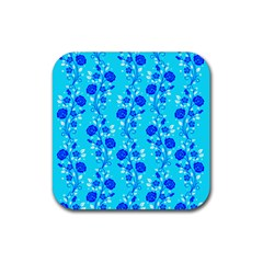 Vertical Floral Rose Flower Blue Rubber Square Coaster (4 Pack)  by Mariart