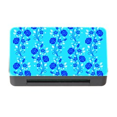 Vertical Floral Rose Flower Blue Memory Card Reader With Cf by Mariart