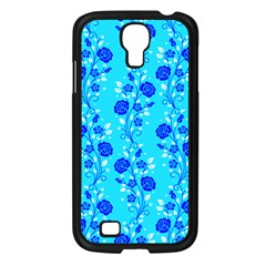 Vertical Floral Rose Flower Blue Samsung Galaxy S4 I9500/ I9505 Case (black) by Mariart