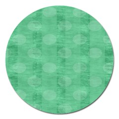 Polka Dot Scrapbook Paper Digital Green Magnet 5  (round) by Mariart
