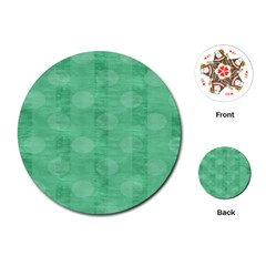 Polka Dot Scrapbook Paper Digital Green Playing Cards (round)  by Mariart