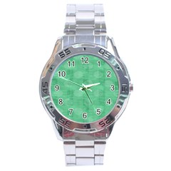 Polka Dot Scrapbook Paper Digital Green Stainless Steel Analogue Watch by Mariart