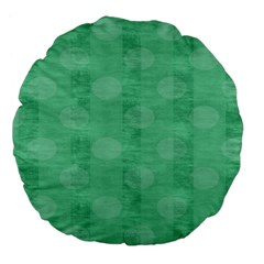 Polka Dot Scrapbook Paper Digital Green Large 18  Premium Flano Round Cushions by Mariart