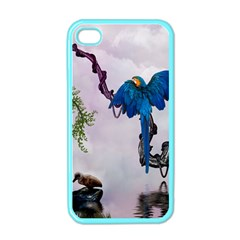 Wonderful Blue Parrot In A Fantasy World Apple Iphone 4 Case (color) by FantasyWorld7